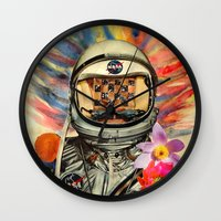 nasa Wall Clocks featuring NASA Messed Me Up by Collage Calamity