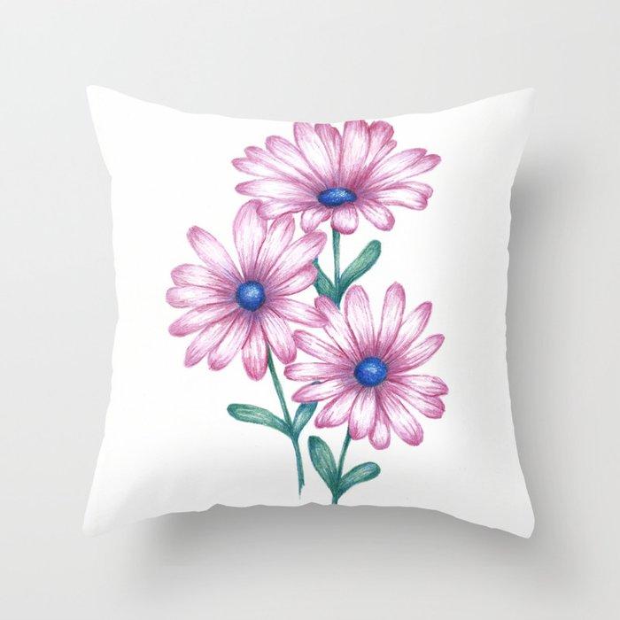 Flower drawing daisy pink print botanical art throw pillow by flower drawing daisy pink print botanical art throw pillow mightylinksfo