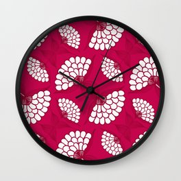 African Floral Motif on Magenta Wall Clock