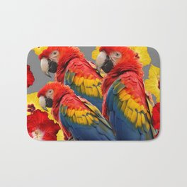 TROPICAL FLORAL MACAWS & RED YELLOW HIBISCUS FLOWERS Bath Mat