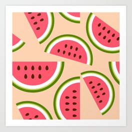 Watermelon pattern Art Print