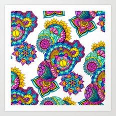 Bohemian floral watercolor mandala hand drawn Art Print