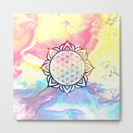 Rainbow Lotus Flower of Life Mandala Metal Print