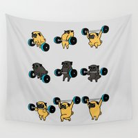pugs Wall Tapestries featuring OLYMPIC LIFTING PUGS by Huebucket