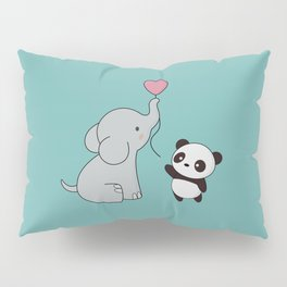 Kawaii Cute Elephant and Panda Pillow Sham