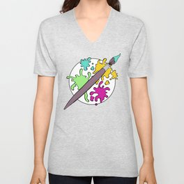 Colorful Paint Splatter Pattern Unisex V-Neck