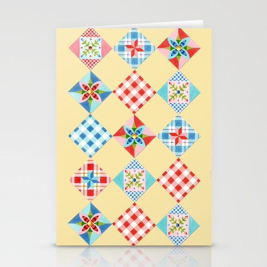 Country Days Patchwork Design Stationery Cards