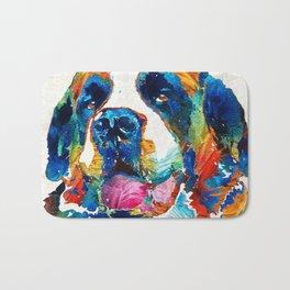 Colorful Saint Bernard Dog by Sharon Cummings Bath Mat