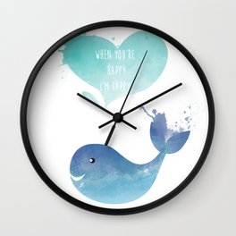 Blue Whale Love - When you are happy I am happy - Happy Valentines Day Wall Clock