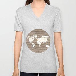 Wooden world map Unisex V-Neck