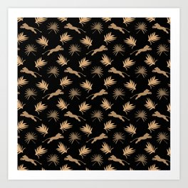 Wild African lions, exotic tropical plants whimsical ethnic tribal retro vintage chocolate brown and black nature pattern. Gift ideas for wildlife, lion and animal lovers. Art Print