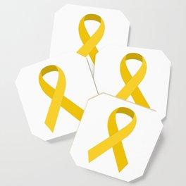 Yellow Awareness Support Ribbon Coaster