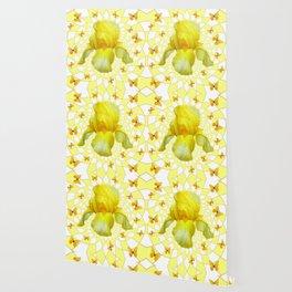 YELLOW BUTTERFLIES & YELLOW IRIS WHITE PATTERN ART Wallpaper