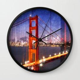 City Art Golden Gate Bridge Composing Wall Clock
