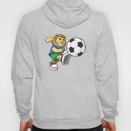Lion as Soccer player with Soccer ball Hoody