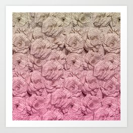 Pastel Pink Ombre Book Flowers Art Print