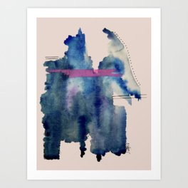 Pour: a blue and purple abstract watercolor Kunstdrucke