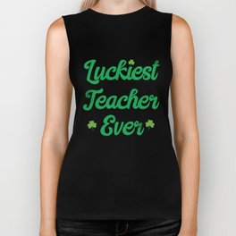 Luckiest Teacher Ever St Patricks Day Cute Clover Design Biker Tank