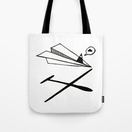 Ninja flies a Paper Plane Tote Bag