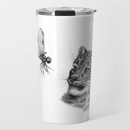 Snow leopard cub and dragonfy G148 Travel Mug