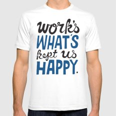 Happy Work White SMALL Mens Fitted Tee