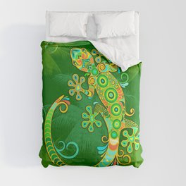 Gecko Lizard Colorful Tattoo Style Comforters