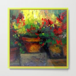 Chartreuse Decorative Red Geraniums Still Life  Painting Metal Print