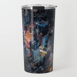 Colorful Times Square Aerial View - New York City Landscape Painting by Jeanpaul Ferro Travel Mug