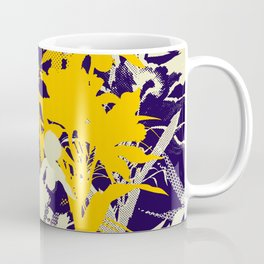 tropical silhouette with orchids and palms with yellow Coffee Mug