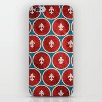 fleur de lis iPhone & iPod Skins featuring Polka Fleur de Lis by Paula Belle Flores