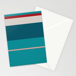A tremendous consistency of Rouge, Pastel Pink, Silver, Dark Cyan and Philippine Indigo stripes. Stationery Cards