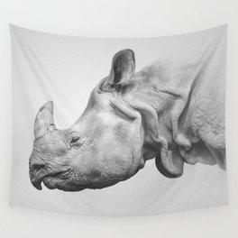 Rhino Art | Minimalism | Black and White | Animal Photography Wall Tapestry
