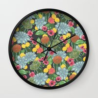 cacti Wall Clocks featuring cacti by Laura Solitrin