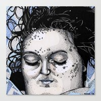 laura palmer Canvas Prints featuring Laura Palmer by Drawn by Nina