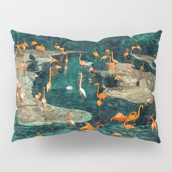 Flamingo Creek #flamingo #tropical #illustration Pillow Sham