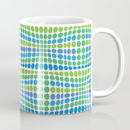Dottywave - Green Blue wave dots pattern Coffee Mug