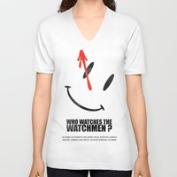 watchmen V-neck T-shirts featuring The Watchmen (Super Minimalist series) by Itomi Bhaa
