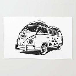 Love van wv 60s hippie surf Rug