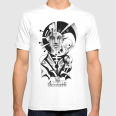 Pencil Sketch Mens Fitted Tee MEDIUM White