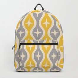 Mid century Modern Bulbous Star Pattern Yellow and Gray Backpack