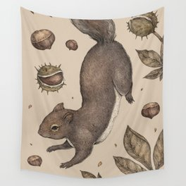 The Squirrel and Chestnuts Wall Tapestry