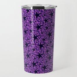 purple,many small and big stars as pattern in shiny metal Travel Mug