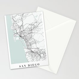 San Diego California Blue Water Street Map Stationery Cards