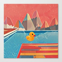 Little duck in the pool Canvas Print