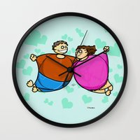 fat Wall Clocks featuring Fat Lovers by Giuseppe Lentini