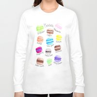 macaron Long Sleeve T-shirts featuring Macaron Watercolor Diagram by Georgie Pearl Designs