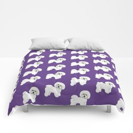 Bichon Frise dog on Ultraviolet, 2018 Bichon , Year of the dog, Pantone Ultraviolet Comforters