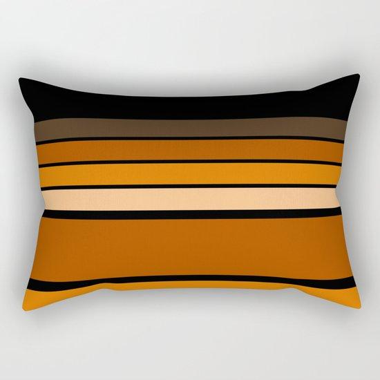 Black and yellow , brown and orange striped pattern . Rectangular Pillow