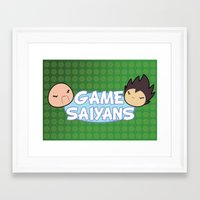 game grumps Framed Art Prints featuring Two Saiyans Play (Game Grumps Style)  by CmOrigins