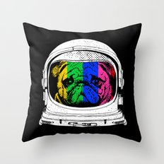 Astronaut Pug Throw Pillow